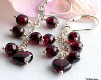 Red Garnet Dangle Earrings, Long Earrings Heart Garnets and Sterling Silver, January Birthstone, Holiday Earrings, Artisan Gift for Her