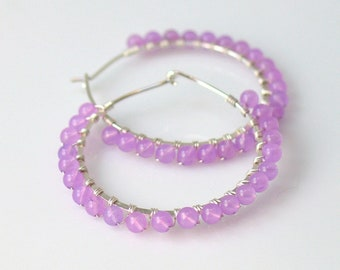 Large Purple Hoop Earrings, Lavender Beaded Hoops in Sterling or Gold-filled, Quartz Stone Beaded Handmade Earrings