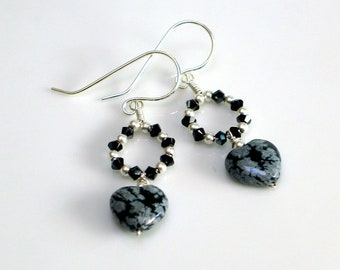 Black Heart Dangle Earrings, Sterling with Snowflake Obsidian and Swarovski Crystals, Dark Valentine, Elegant Statement Earrings