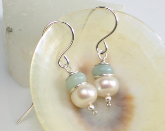 Pearl and Amazonite Drop Earrings, White Freshwater Pearl and Natural Aqua Stone Earrings, Pastel Gemstone Earrings, Gift for Her, June