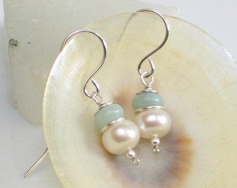Small Pearl & Amazonite Drop Earrings, White Freshwater Pearl and Natural Aqua Stone Earrings, Pastel Gemstone Earrings, Gift for Her, June