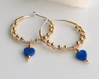 Artisan Gold Hoops and Blue Lapis Lazuli Hearts, Carved Gem Earrings, Blue and Gold Dangles on Silver Hoops, Original Gift for Her