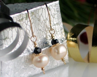 White Pearl Black Spinel Gold Earrings, Black and White Freshwater Pearl Earrings, Gold Filled Drop Earrings, Black Tie