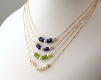 Pearls and Gem Bar Necklace in Peridot Amethyst or Lapis Lazuli, Freshwater Pearls & Gold Necklace, Delicate Minimal Organic, Stacked Stones