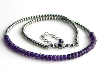Amethyst and Sterling Beaded Necklace, February Birthstone, Faceted Purple Gems and Oxidized Sterling Beaded Chain, Artisan Made