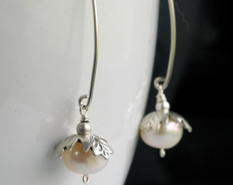 Silver Capped White Pearl Long Drop Earrings in Sterling Silver, Long Dangle Pearl Earrings, Botanical Inspiration, Nature Fashion
