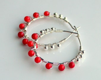 Red Coral Hoop Earrings, Sterling Hoops with Bright Red Beads, Valentine Red-Hot Earrings, Gift for Her, Artisan Original Handmade