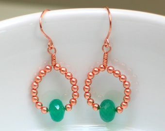 St Patrick's Day Emerald Green and Copper Earrings, Artisan Handmade Green Onyx on Handmade Hoop Dangles, Bright Shamrock Green Gift for Her