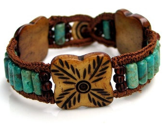 Handmade Cuff with Turquoise and Carved Bone, WillOaksStudio Original, Crocheted Silk Edge