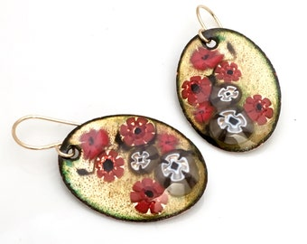 Red & Gold Enameled Earrings, Copper Enamel Jewelry, Floral Design, Chinese Screen Inspired, Hand Crafted Enamel Earrings, Gift for Her