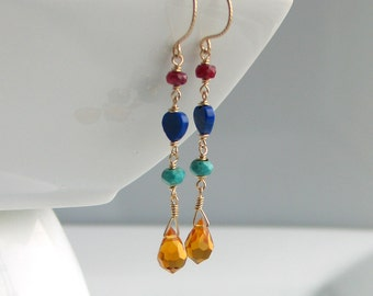 Bright Long Dangle Earrings in Gold and Primary Colors, Ruby Lapis Turquoise Crystal on GF Wire, Bohemian Fashion