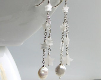 Celestial Sterling Jewelry, Moon & Stars Long Dangle Earrings, White Pearl Coin and Stone Stars, Starry Night Earrings, Original Gift