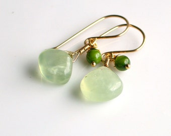 Green Prehnite and Gold Dangle Earrings, Fresh Green Earrings, Green Stone Earrings in Gold Filled, Nature's Gift Earrings