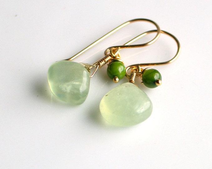 Featured listing image: Green Prehnite and Gold Dangle Earrings, Fresh Green Earrings, Green Stone Earrings in Gold Filled, Nature's Gift Earrings