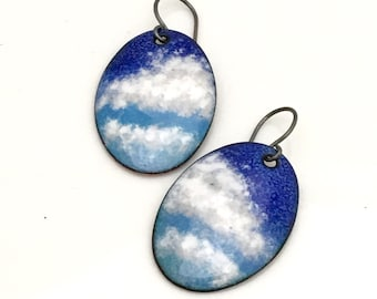 Blue and White Enameled Earrings, Oval Skyscape Dangles, Big White Clouds Original, Handmade Hot Glass Copper Enamel, Art Earrings