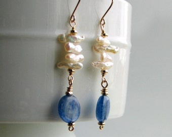 Organic White Stick Pearl Earrings, White Pearls and Blue Kyanite, Sea and Sky Dangle Earrings, Nature Fashion, June Birthday, Gift for Her