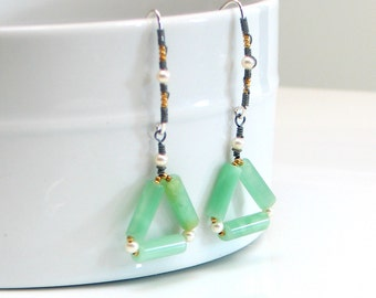 Mint Green Triangle Dangles, Green Amazonite and Pearl Mixed Metal Earrings, Geometric Fashion Trend, Original Artisan Gemstone Earrings