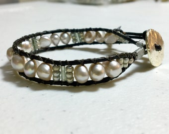 Pale Silver Gray Pearl Cuff, Pearl and Leather Wrap Bracelet, Original WillOaks Studio Artisan Jewelry, Boho Pearl Bracelet