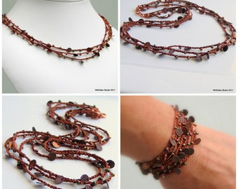 Crochet Beaded Necklace or Wrap Cuff with Copper and Glass, Woodland Colors, Multistrand Silk Chain