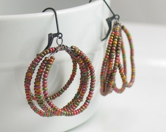 Dangle Hoop Earrings with Deluxe Metallic Finish Czech Beads, Oxidized Sterling Silver Coil Pastel Beads, WillOaksStudio Original Design