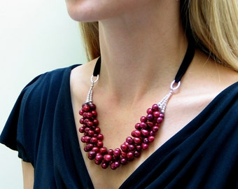 Red Pearl Necklace, Ruby Red Freshwater Pearl Bib, Fashion Pearl Necklace, Designer Pearls