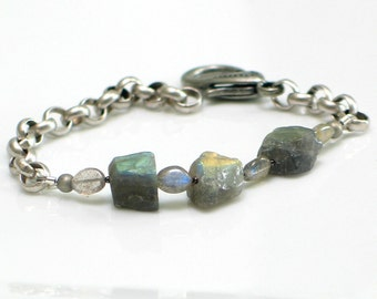 Labradorite Raw Stone Bracelet, Nuggets & Chain Gray Cuff, Gemstone Bracelet, WillOaks Studio Original Design, Nature Fashion