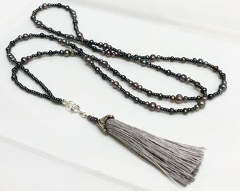 Beaded Long Necklace Chain in Dark Gray Glass & Peacock Gray Pearls, Handmade Pale Gray Silk Tassel, Versatile Boho Fashion, Wrap or Layer