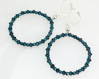Teal Blue Crystal & Sterling Hoop Earrings, Big Hoop Statement Dangles, Swarovski Crystals and Czech Faceted Glass Beaded Silver Hoops