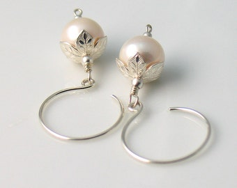 White Pearl Drop Earrings with Sterling Floral Details, Larger Freshwater Pearl Earrings, Sterling Silver Pearl Dangle Earrings, For June