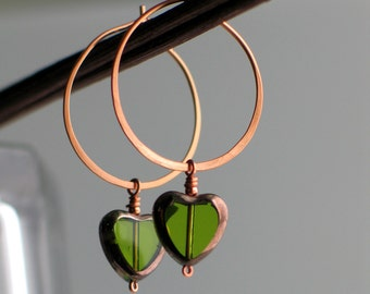 Heart Hoops Green Earrings, Czech Glass Dangle Hearts, Handmade Copper Hoop Earrings, Transparent Peridot Green, Green Glass Heart Earrings