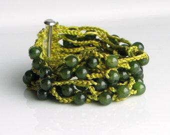 Crochet Stone and Silk Cuff in Dark Green Quartz, Hand Dyed Heavy Artisan Silk and Stone Cuff, Green Shades of Nature Silk Bracelet