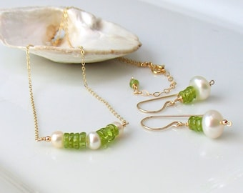Peridot Gemstone Set, Gold Earrings & Necklace with Pearls, Bar Pendant, August Birthstone, Handmade Artisan Original Design WillOaks Studio