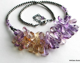 Ametrine Art Jewelry, Lavender Yellow Gemstone Bib Necklace, Ametrine Original Neckace with Sterling Silver Beaded Chain, WillOaks Studio