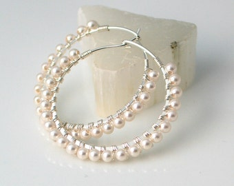 Pearl Sterling Hoop Earrings, Crystal Pearls on Wrapped Silver Hoops, Dainty White Hoop Earrings, June Birthday, Bridal Earrings, Wedding