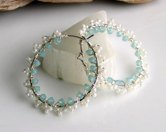 Lacey Sterling Silver Hoop Earrings with Crystals and Tiny Beads, Feminine Romantic Hoops, Prom, Weddings, Aqua and White, Gift for Her