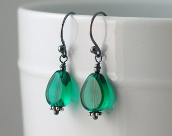 Green Dangle Earrings, Clip-on or Pierced Emerald Green Glass Drops, Irish Green Drop Earrings, Spring, St Patricks Day