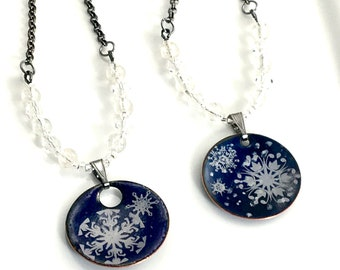 Snowflakes on Dark Blue Copper Enameled Pendant, Crystal Beaded & Gunmetal Chain, Handmade Necklace, Beautiful Gift for Her, Snowfall