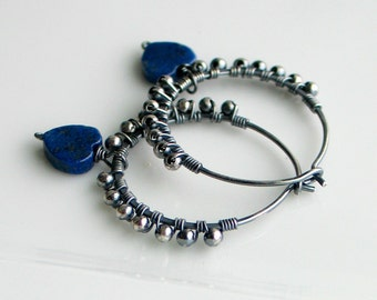 Blue Lapis Lazuli Heart Hoops, Handmade Oxidized Silver Textured Hoop Earrings, Natural Lapis Hearts Earrings, Blue Heart Earrings