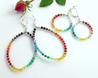 A Rainbow of Agates on Dangle Hoops, Big or Small Beaded Hoop Earrings, Colorful Stones, Original Deluxe Beaded Sterling Silver Hoops