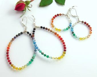 A Rainbow of Agates on Dangle Hoops, Big or Small Beaded Hoop Earrings, Colorful Stones, Original Deluxe Beaded Sterling Silver Hoops