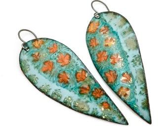 Long Enameled Earrings, Turquoise Flower Dangles, Beautiful Color, Original Gift for Her, Art Earrings, Artisan Handmade, Copper Enamel
