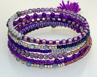 Glass Bead Wrap Bracelet Lots of Purple, Rich Riot of Royal Colors Beaded Cuff, Steel Memory Wire Wrap for Easy On & Off, Artisan Original