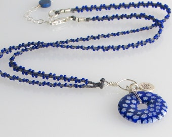 Blue Millefiori Flower Glass Pendant, Long Hand Braided Linen Chain with Glass Beads, Original OOAK Art Necklace, Ready to Mail Gift for Her