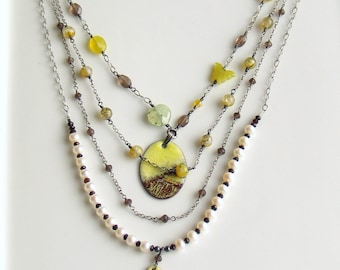 Art Jewelry, Multi Strand Chains with Copper Enamel Art Pendants, Bib Necklace, Layered Pearls & Gems, Handmade Artisan OOAK, Deluxe Gift