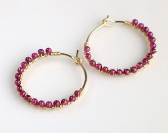 Red Garnet Gold Hoops, January Birthday, Tiny Garnet Beads Wire Wrapped to Handmade Gold Hoops, Red Gem Stone Hoops, Red and Gold Earrings