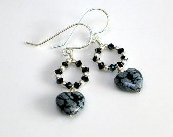Black Heart Dangle Earrings, Sterling with Snowflake Obsidian and Swarovski Crystals, Dark Valentine, Elegant Statement Earrings