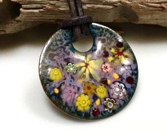 Copper Enameled Art Pendant, Impressionist Pastel Flower Garden, Kiln Fired Vitreous Enamel, Ready to Mail, Beautiful Gift for Her