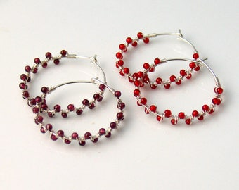 Garnet or Carnelian Hoop Earrings, Red Stone Beaded Jewelry, Dark Red or Orange Red Dainty Handmade Hoops, Fun Fashion