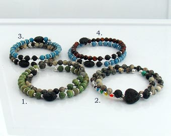 Lava and Stone Beaded Cuff Bracelets for Essential Oils, Rustic Stone Memory Wire Bracelets