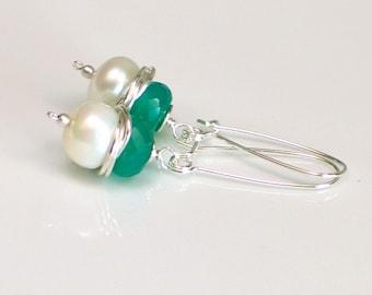 Long White Pearl Earrings, Green May  Birthday, June Birthstone, Sterling Silver Self Latch Pierced Earrings, Gorgeous Gift